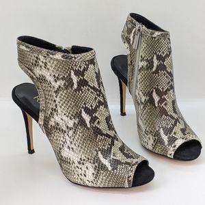 Raye   Brooke Snake Print Open Toe Bootie Heel